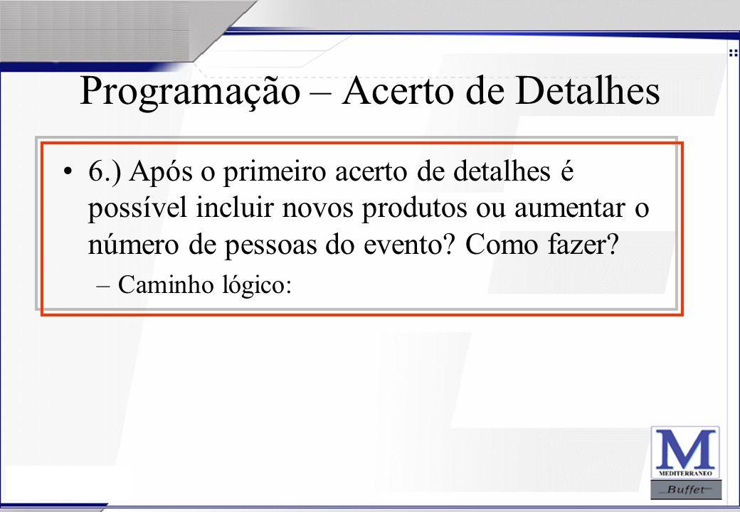 24/07/2003 Programação – Acerto de Detalhes 6.) Após o primeiro acerto de detalhes é possível incluir novos produtos ou aumentar o número de pessoas d