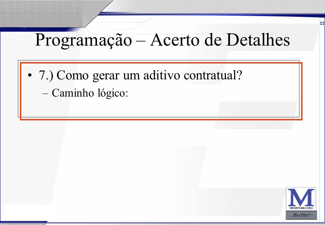 24/07/2003 Programação – Acerto de Detalhes 7.) Como gerar um aditivo contratual? –Caminho lógico: