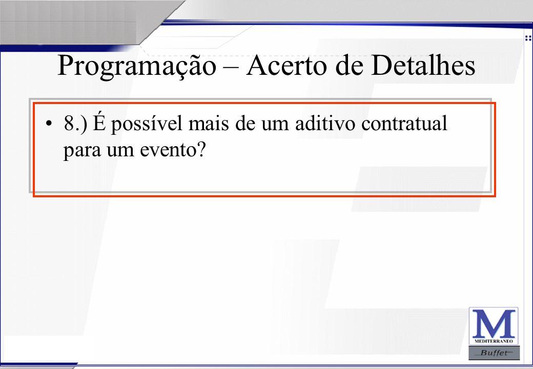24/07/2003 Programação – Acerto de Detalhes 8.) É possível mais de um aditivo contratual para um evento?