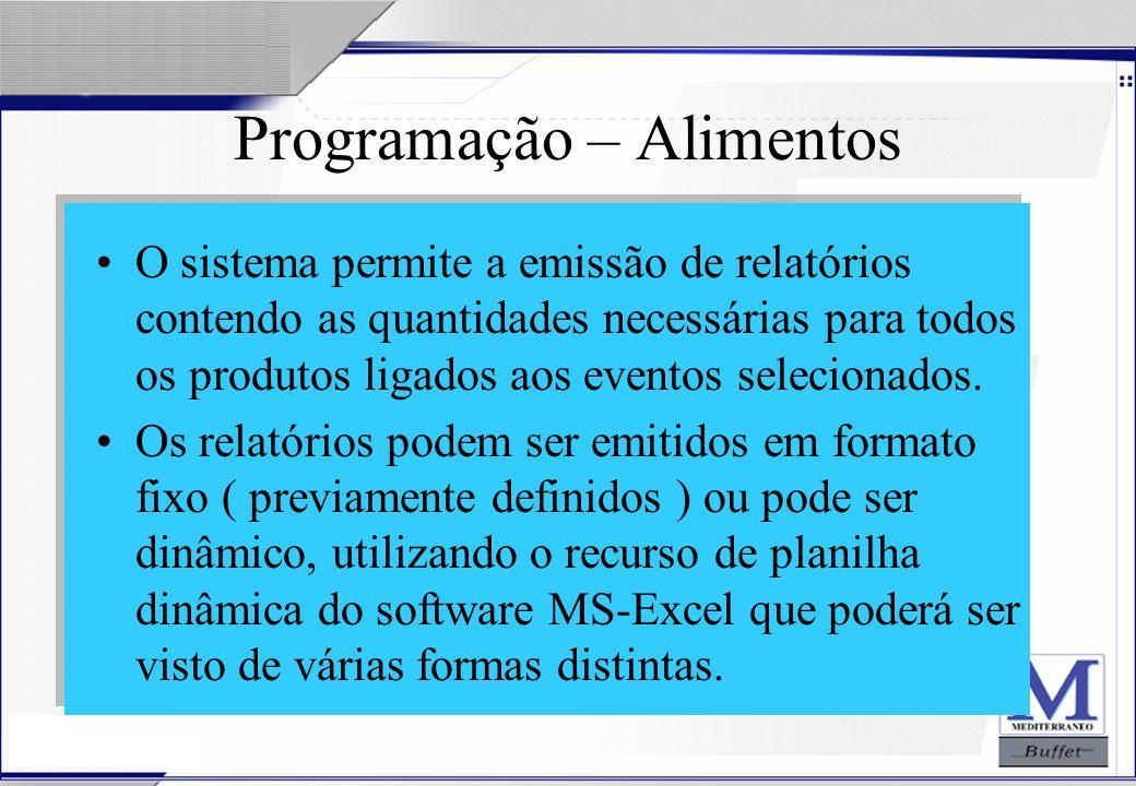 24/07/2003 Programação – Alimentos O sistema permite a emissão de relatórios contendo as quantidades necessárias para todos os produtos ligados aos ev