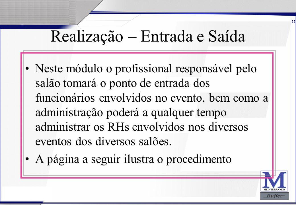 24/07/2003 Realização – Entrada e Saída Neste módulo o profissional responsável pelo salão tomará o ponto de entrada dos funcionários envolvidos no ev