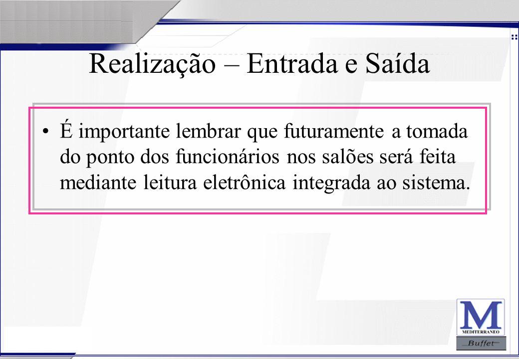24/07/2003 Realização – Entrada e Saída É importante lembrar que futuramente a tomada do ponto dos funcionários nos salões será feita mediante leitura