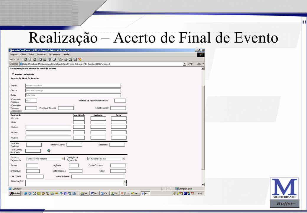 24/07/2003 Realização – Acerto de Final de Evento
