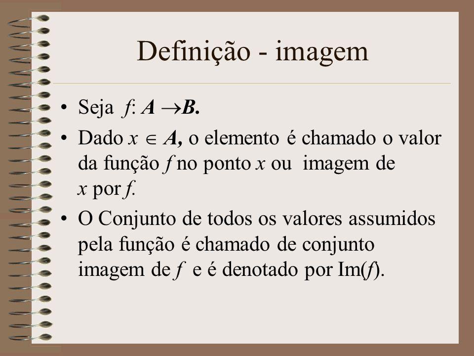 Definição - imagem Seja f: A B. Dado x A, o elemento é chamado o valor da função f no ponto x ou imagem de x por f. O Conjunto de todos os valores ass