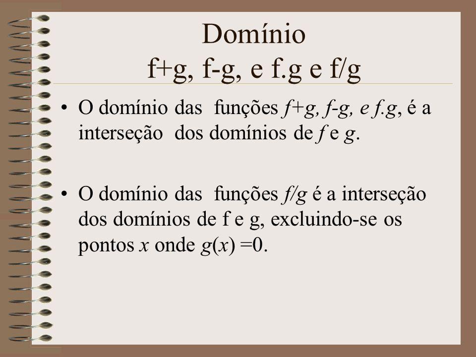 Domínio f+g, f-g, e f.g e f/g O domínio das funções f+g, f-g, e f.g, é a interseção dos domínios de f e g. O domínio das funções f/g é a interseção do