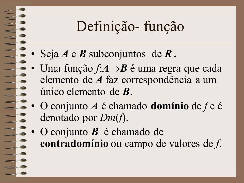 Definição- função Seja A e B subconjuntos de R. Uma função f:A B é uma regra que cada elemento de A faz correspondência a um único elemento de B. O co