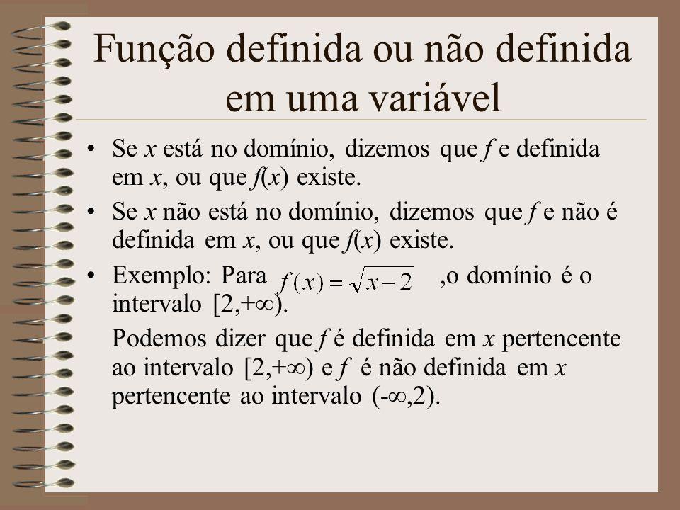 Função definida ou não definida em uma variável Se x está no domínio, dizemos que f e definida em x, ou que f(x) existe. Se x não está no domínio, diz