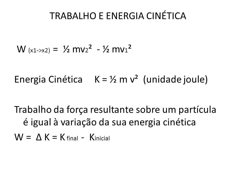 TRABALHO E ENERGIA CINÉTICA W (x1->x2) = ½ mv 2 ² - ½ mv 1 ² Energia Cinética K = ½ m v² (unidade joule) Trabalho da força resultante sobre um partícu