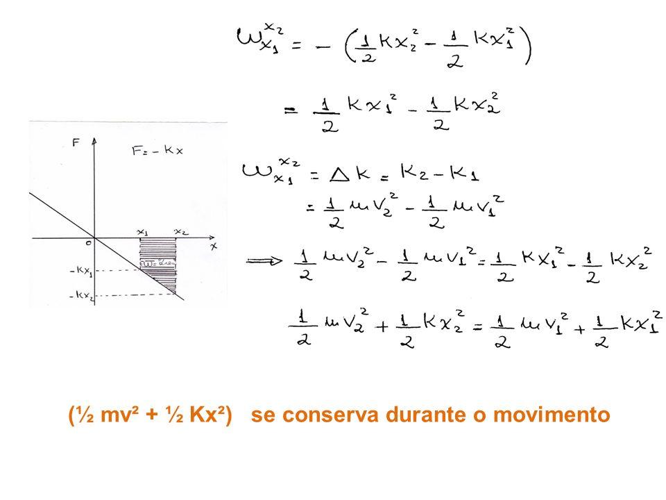 (½ mv² + ½ Kx²) se conserva durante o movimento