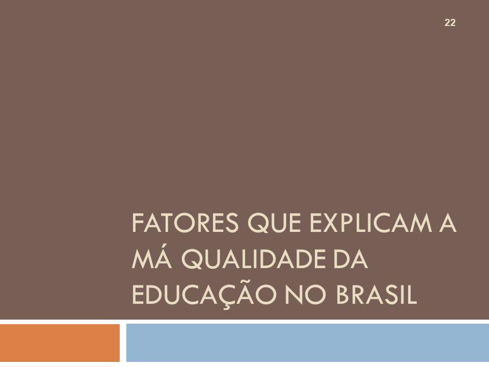 FATORES QUE EXPLICAM A MÁ QUALIDADE DA EDUCAÇÃO NO BRASIL 22