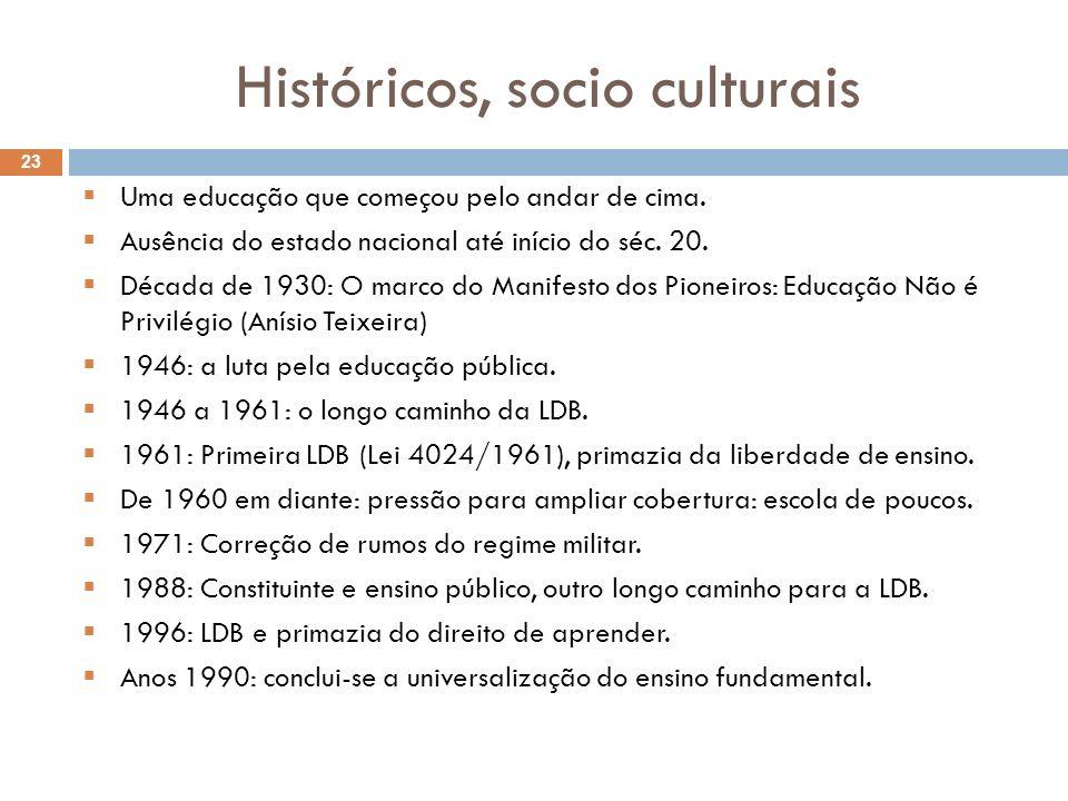 Históricos, socio culturais Uma educação que começou pelo andar de cima. Ausência do estado nacional até início do séc. 20. Década de 1930: O marco do