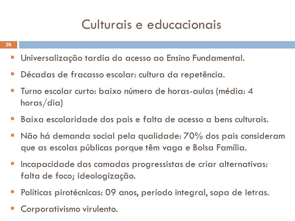 Culturais e educacionais 26 Universalização tardia do acesso ao Ensino Fundamental. Décadas de fracasso escolar: cultura da repetência. Turno escolar