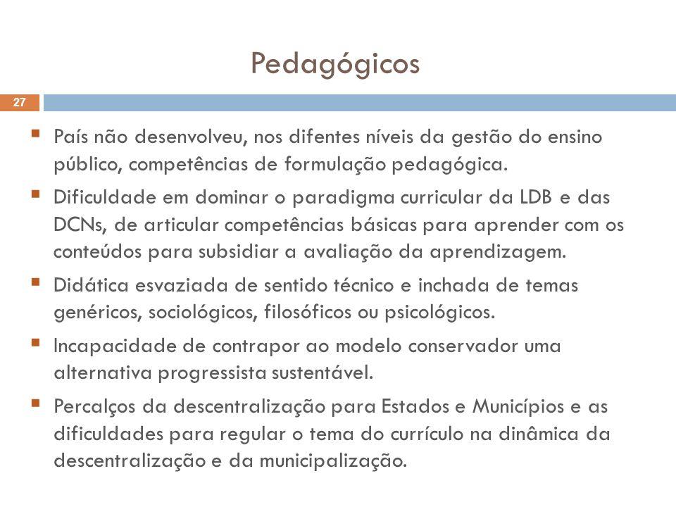 Pedagógicos País não desenvolveu, nos difentes níveis da gestão do ensino público, competências de formulação pedagógica. Dificuldade em dominar o par