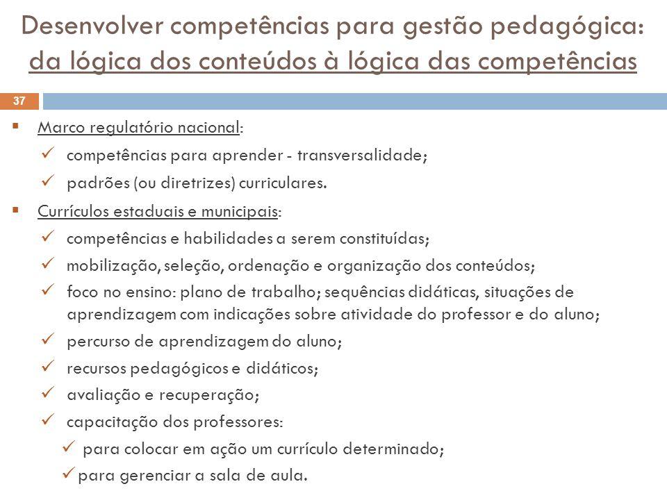 Desenvolver competências para gestão pedagógica: da lógica dos conteúdos à lógica das competências Marco regulatório nacional: competências para apren