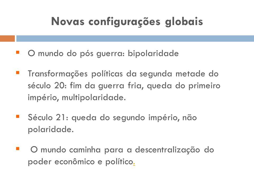 Novas configurações globais O mundo do pós guerra: bipolaridade Transformações políticas da segunda metade do século 20: fim da guerra fria, queda do