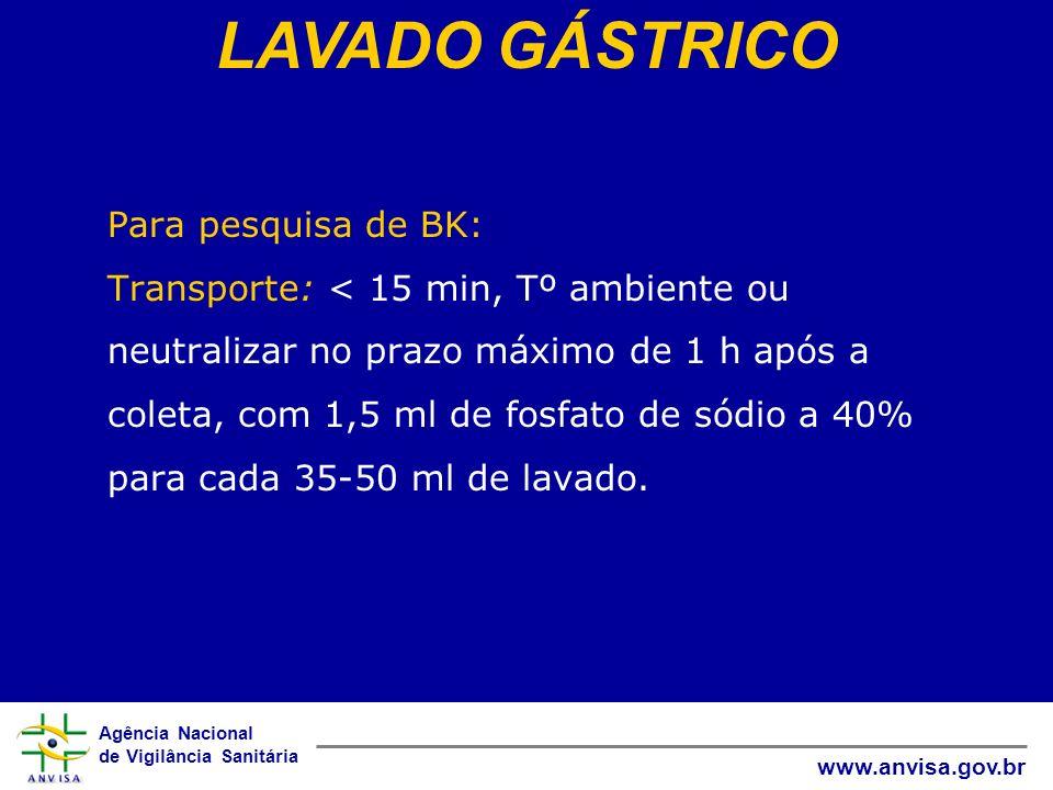Agência Nacional de Vigilância Sanitária www.anvisa.gov.br Para pesquisa de BK: Transporte: < 15 min, Tº ambiente ou neutralizar no prazo máximo de 1