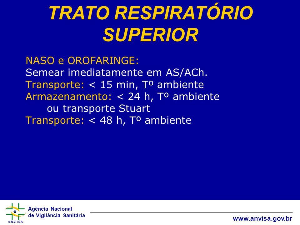 Agência Nacional de Vigilância Sanitária www.anvisa.gov.br NASO e OROFARINGE: Semear imediatamente em AS/ACh. Transporte: < 15 min, Tº ambiente Armaze