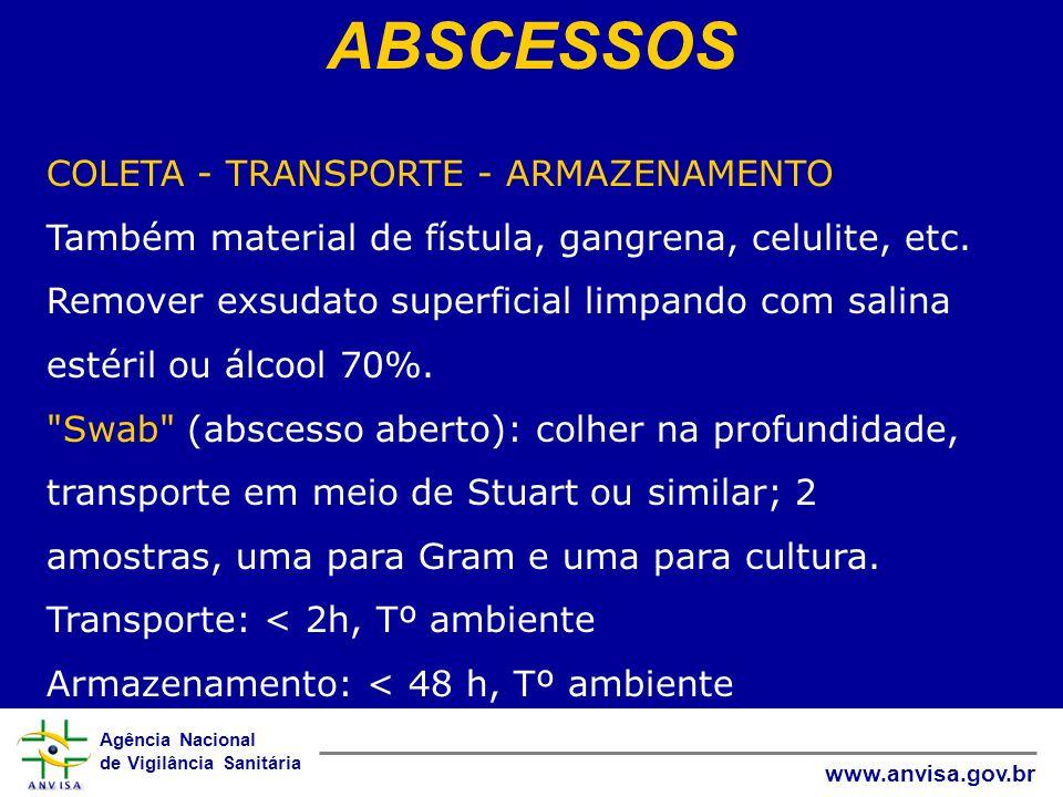 Agência Nacional de Vigilância Sanitária www.anvisa.gov.br ABSCESSOS COLETA - TRANSPORTE - ARMAZENAMENTO Também material de fístula, gangrena, celulit