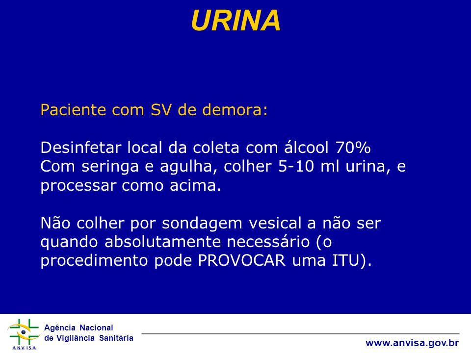 Agência Nacional de Vigilância Sanitária www.anvisa.gov.br Paciente com SV de demora: Desinfetar local da coleta com álcool 70% Com seringa e agulha,