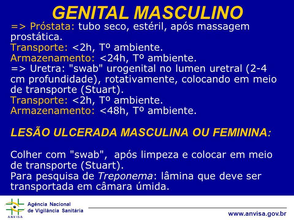 Agência Nacional de Vigilância Sanitária www.anvisa.gov.br => Próstata: tubo seco, estéril, após massagem prostática. Transporte: Uretra: