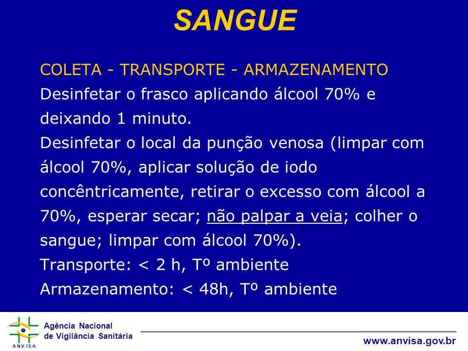 Agência Nacional de Vigilância Sanitária www.anvisa.gov.br COLETA - TRANSPORTE - ARMAZENAMENTO Desinfetar o frasco aplicando álcool 70% e deixando 1 m