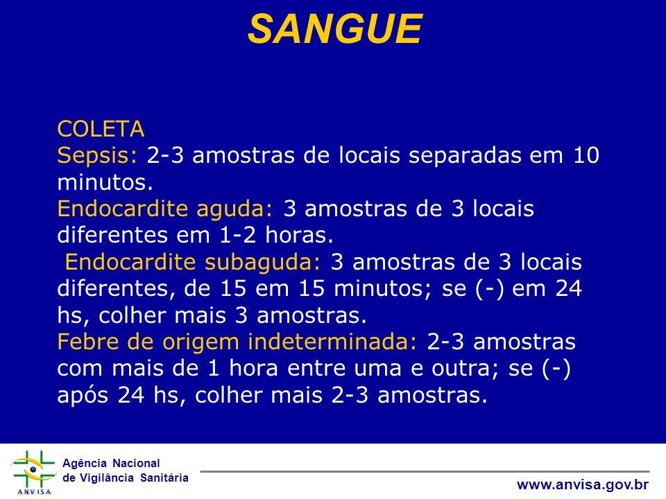 Agência Nacional de Vigilância Sanitária www.anvisa.gov.br COLETA Sepsis: 2-3 amostras de locais separadas em 10 minutos. Endocardite aguda: 3 amostra