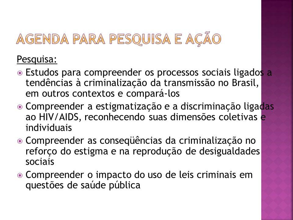 Pesquisa: Estudos para compreender os processos sociais ligados a tendências à criminalização da transmissão no Brasil, em outros contextos e compará-