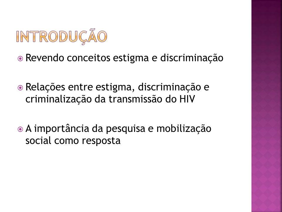 Revendo conceitos estigma e discriminação Relações entre estigma, discriminação e criminalização da transmissão do HIV A importância da pesquisa e mob