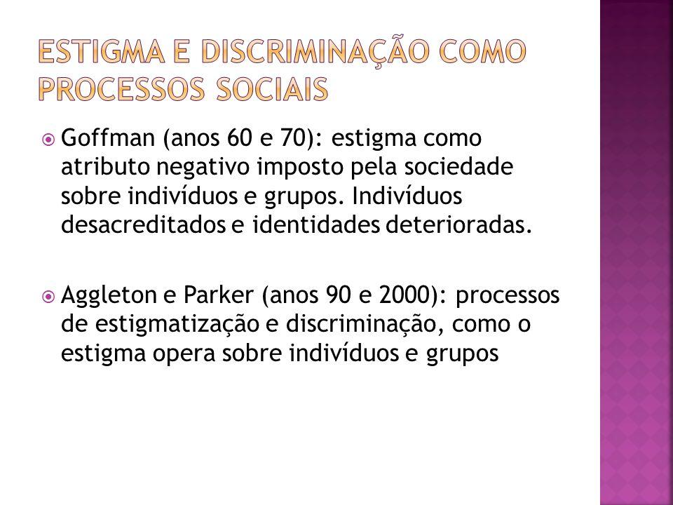 Goffman (anos 60 e 70): estigma como atributo negativo imposto pela sociedade sobre indivíduos e grupos. Indivíduos desacreditados e identidades deter