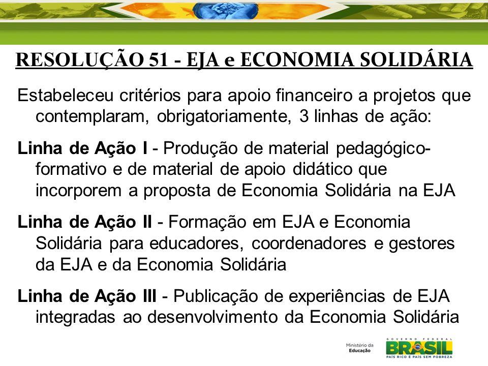 RESOLUÇÃO 51 - EJA e ECONOMIA SOLIDÁRIA Estabeleceu critérios para apoio financeiro a projetos que contemplaram, obrigatoriamente, 3 linhas de ação: L