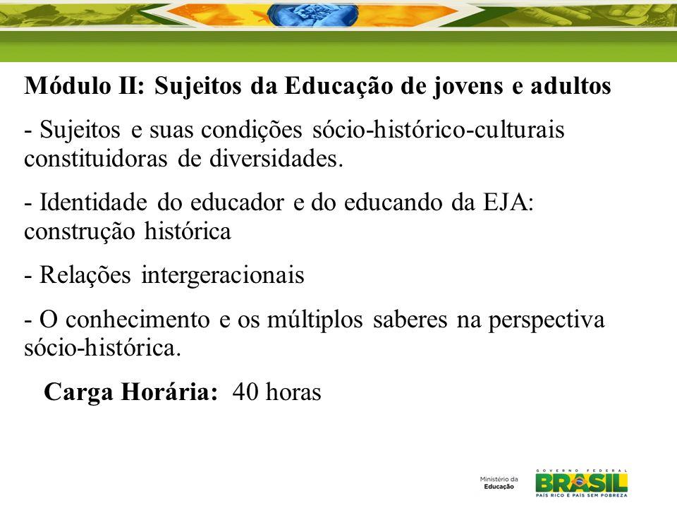 Módulo II: Sujeitos da Educação de jovens e adultos - Sujeitos e suas condições sócio-histórico-culturais constituidoras de diversidades. - Identidade