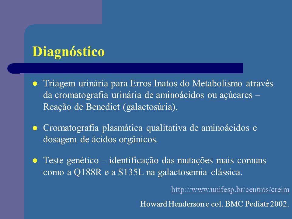 Diagnóstico Triagem urinária para Erros Inatos do Metabolismo através da cromatografia urinária de aminoácidos ou açúcares – Reação de Benedict (galac