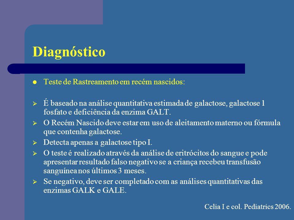 Diagnóstico Teste de Rastreamento em recém nascidos: É baseado na análise quantitativa estimada de galactose, galactose 1 fosfato e deficiência da enz