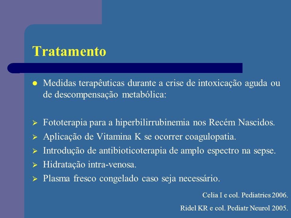 Tratamento Medidas terapêuticas durante a crise de intoxicação aguda ou de descompensação metabólica: Fototerapia para a hiperbilirrubinemia nos Recém