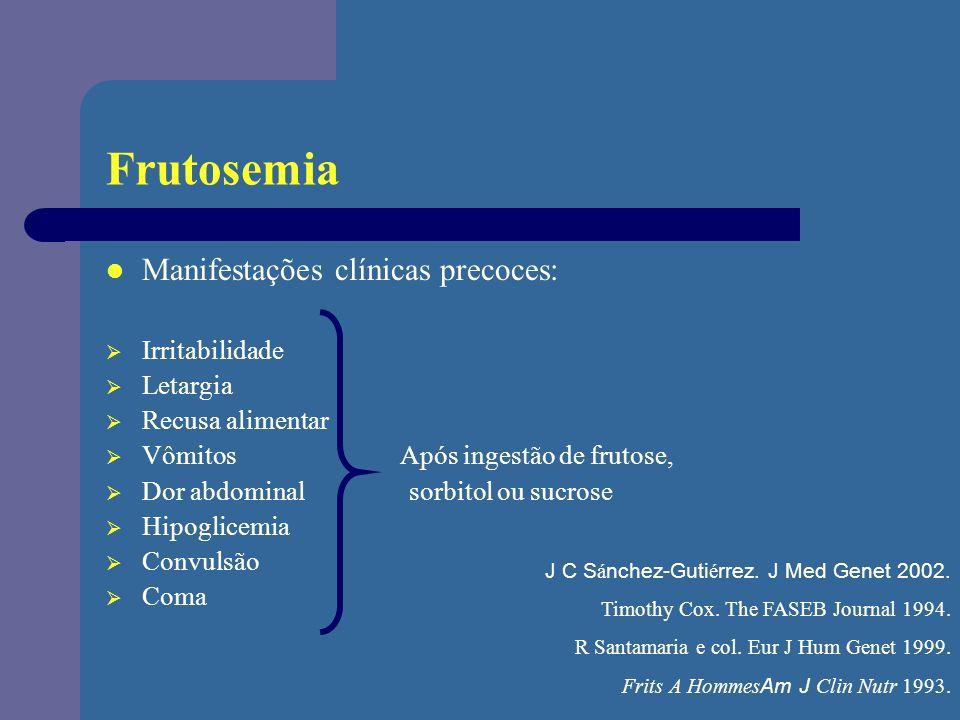 Frutosemia Manifestações clínicas precoces: Irritabilidade Letargia Recusa alimentar Vômitos Após ingestão de frutose, Dor abdominal sorbitol ou sucro