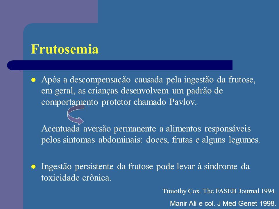 Frutosemia Após a descompensação causada pela ingestão da frutose, em geral, as crianças desenvolvem um padrão de comportamento protetor chamado Pavlo