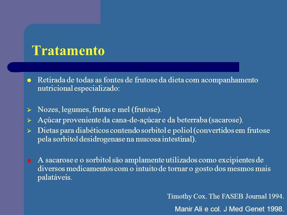 Tratamento Retirada de todas as fontes de frutose da dieta com acompanhamento nutricional especializado: Nozes, legumes, frutas e mel (frutose). Açúca