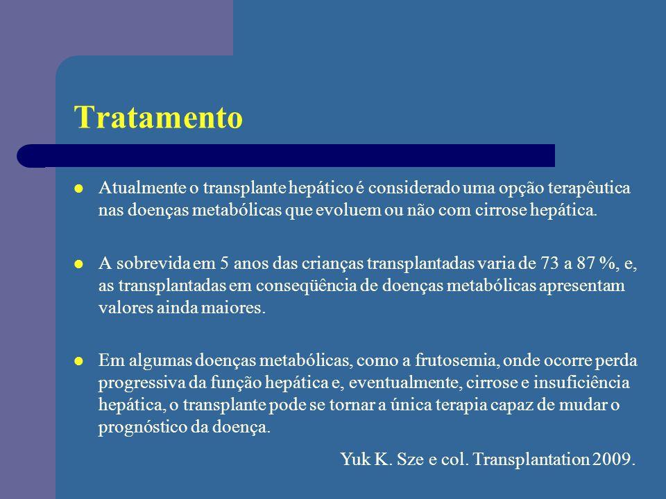 Tratamento Atualmente o transplante hepático é considerado uma opção terapêutica nas doenças metabólicas que evoluem ou não com cirrose hepática. A so