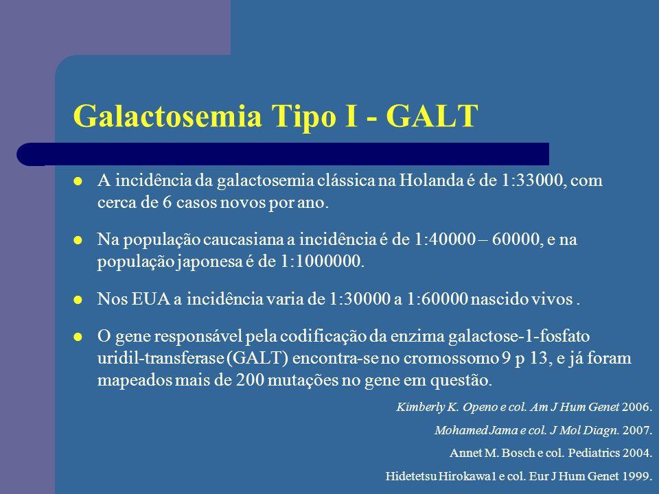 Galactosemia Tipo I - GALT A incidência da galactosemia clássica na Holanda é de 1:33000, com cerca de 6 casos novos por ano. Na população caucasiana
