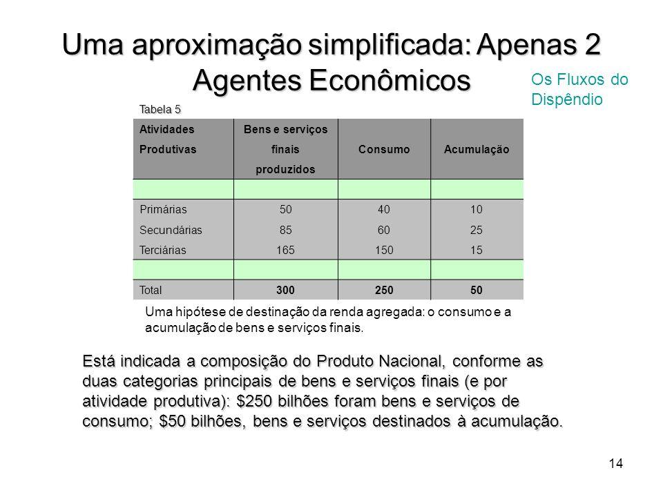 14 Uma aproximação simplificada: Apenas 2 Agentes Econômicos Os Fluxos do Dispêndio Tabela 5 Atividades Bens e serviços Produtivas finaisConsumoAcumul