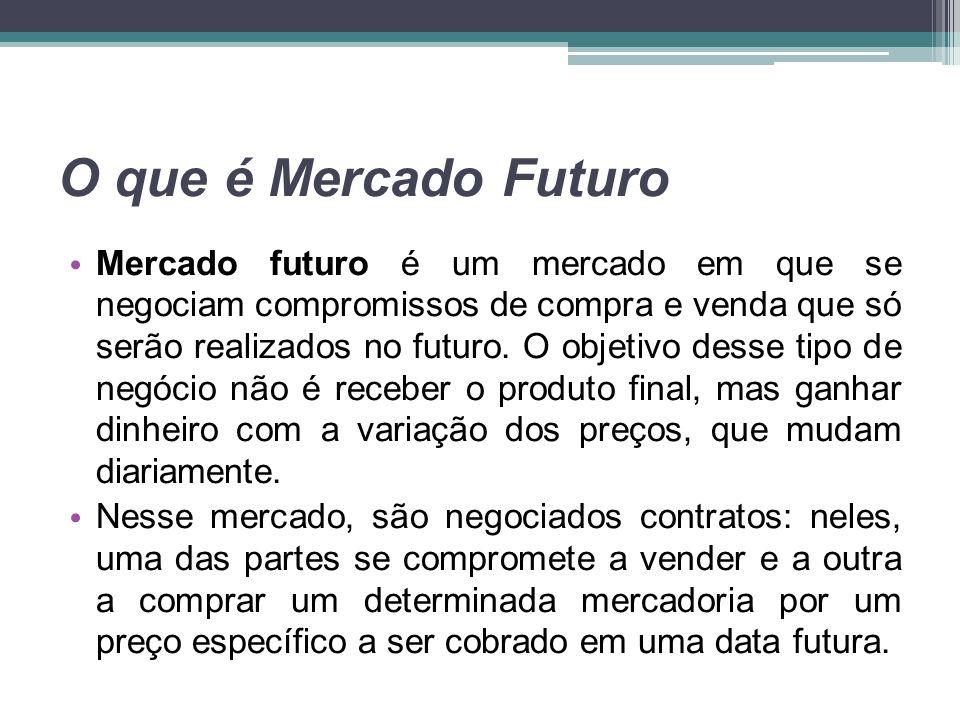 O que é Mercado Futuro Mercado futuro é um mercado em que se negociam compromissos de compra e venda que só serão realizados no futuro. O objetivo des