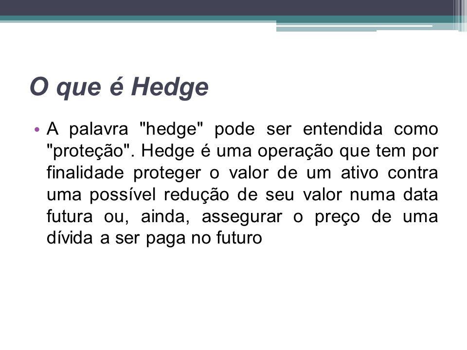 Para que serve o Hedge Por meio do hedge, a empresa se vê livre de um risco inerente à sua atividade econômica principal.