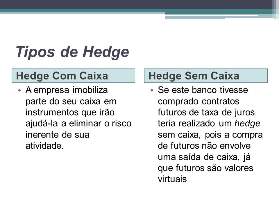 Tipos de Hedge Hedge Com CaixaHedge Sem Caixa A empresa imobiliza parte do seu caixa em instrumentos que irão ajudá-la a eliminar o risco inerente de