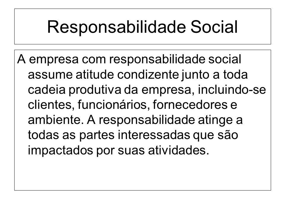 Responsabilidade Social A empresa com responsabilidade social assume atitude condizente junto a toda cadeia produtiva da empresa, incluindo-se cliente