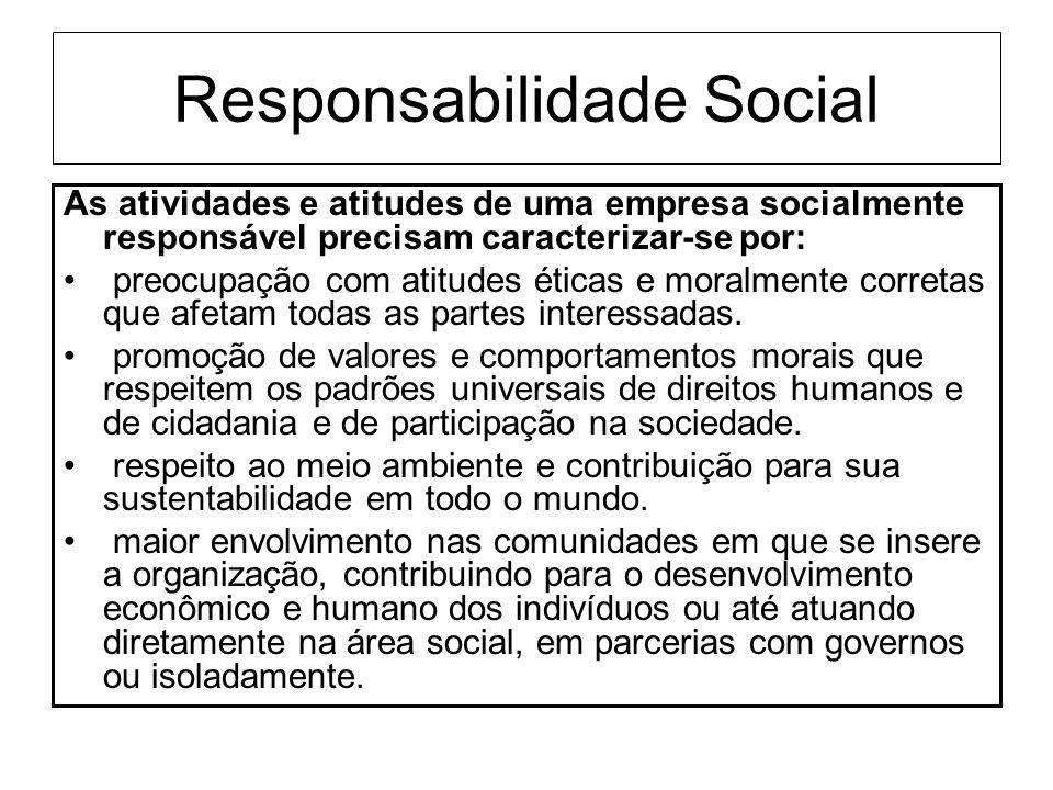 Responsabilidade Social As atividades e atitudes de uma empresa socialmente responsável precisam caracterizar-se por: preocupação com atitudes éticas