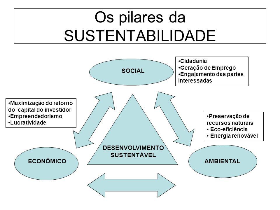 Os pilares da SUSTENTABILIDADE ECONÔMICOAMBIENTAL SOCIAL DESENVOLVIMENTO SUSTENTÁVEL Preservação de recursos naturais Eco-eficiência Energia renovável
