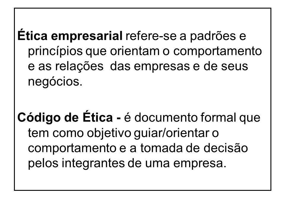 Ética empresarial refere-se a padrões e princípios que orientam o comportamento e as relações das empresas e de seus negócios. Código de Ética - é doc