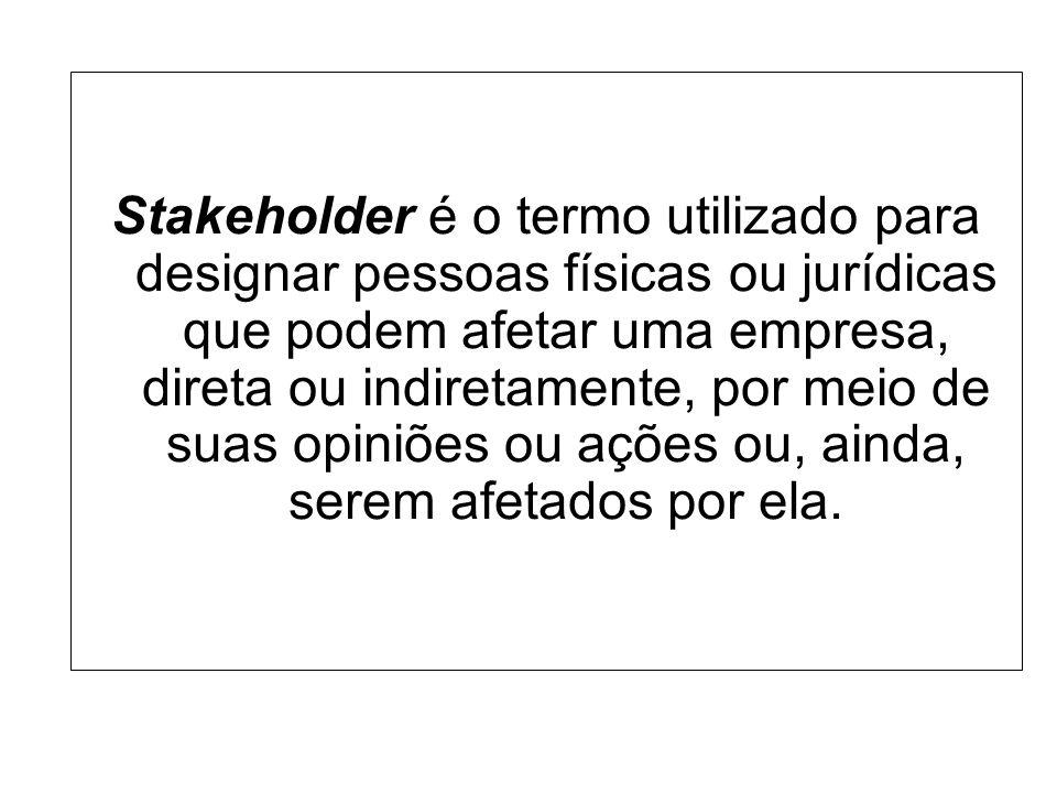 Stakeholder é o termo utilizado para designar pessoas físicas ou jurídicas que podem afetar uma empresa, direta ou indiretamente, por meio de suas opi