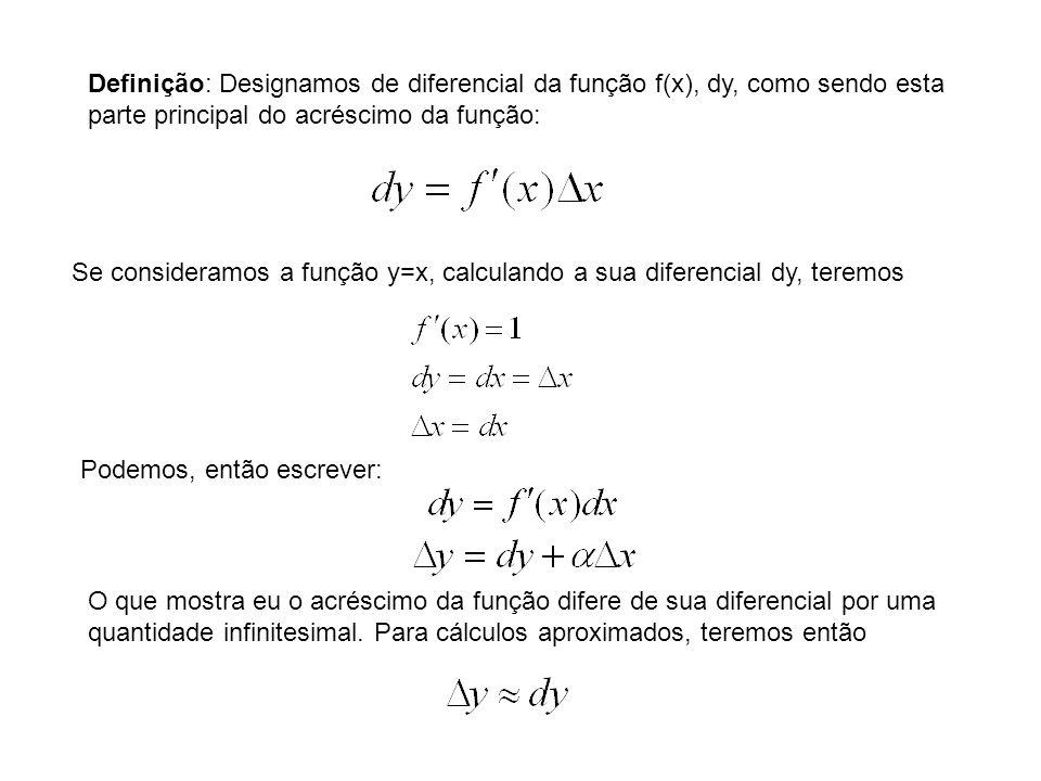 Definição: Designamos de diferencial da função f(x), dy, como sendo esta parte principal do acréscimo da função: Se consideramos a função y=x, calcula