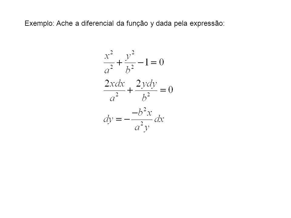 Exemplo: Ache a diferencial da função y dada pela expressão: